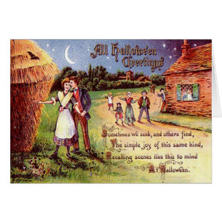 Vintage All Halloween Greeting Couple Card