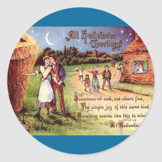 Vintage All Halloween Greeting Couple Classic Round Sticker