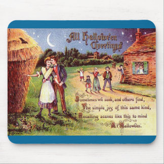 Vintage All Halloween Greeting Couple Mouse Pad