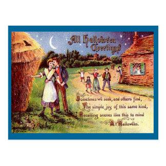 Vintage All Halloween Greeting Couple Postcard
