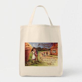 Vintage All Halloween Greeting Couple Tote Bag