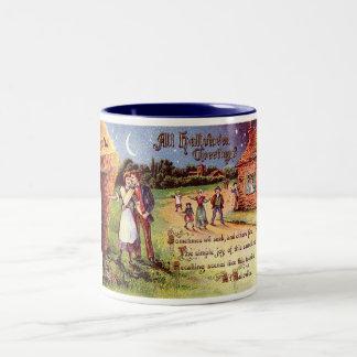 Vintage All Halloween Greeting Couple Two-Tone Coffee Mug