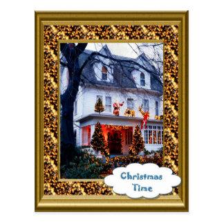 Vintage   All lit up for Christmas Postcard
