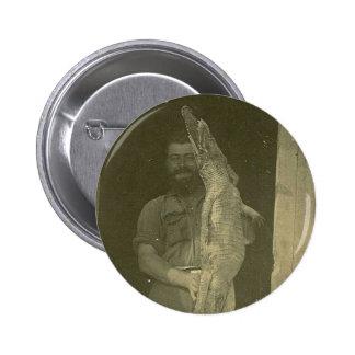 Vintage Alligator Man Photo c 1920 Button