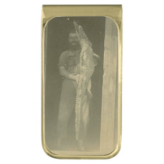 Vintage Alligator Man Photo c 1920 Gold Finish Money Clip