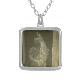 Vintage Alligator Man Photo c 1920 Silver Plated Necklace