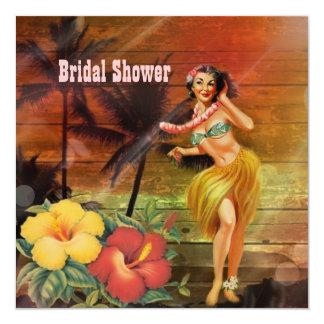 vintage aloha hula Girl hawaii beach bridal shower Card