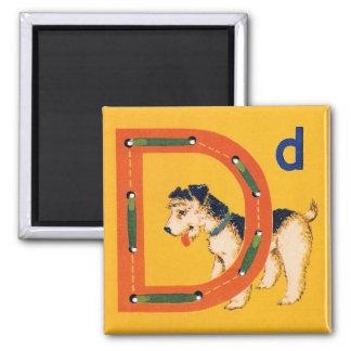 Vintage Alphabet Sewing Card D for Dog Magnet