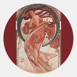 Vintage Alphones Mucha  Dance Classic Round Sticker
