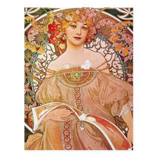 Vintage Alphonse Maria Mucha Art Postcard