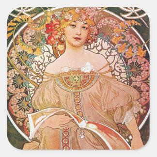 Vintage Alphonse Maria Mucha Art Square Sticker