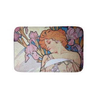Vintage alphonse Mucha goddess Art nouveau Bath Mat