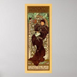 Vintage Alphonse Mucha Lorenzaccio vertical banner Poster