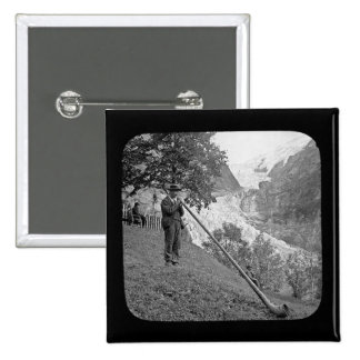 Vintage Alphorn  Magic Lantern Slide 2 Inch Square Button