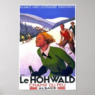 Vintage Alsace Ski Travel Poster