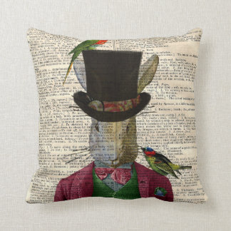 Vintage Altered Art Rabbit Book Page Throw Pillow