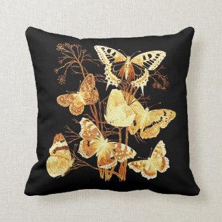 Vintage Altered Light Design Gold Butterflies Pillow