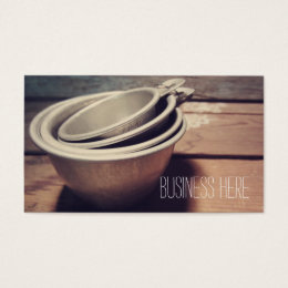 Vintage Aluminum Measuring Cups Retro Inspired Business Card