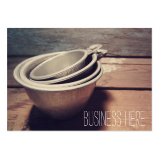 Vintage Aluminum Measuring Cups Retro Inspired Large Business Cards (Pack Of 100)