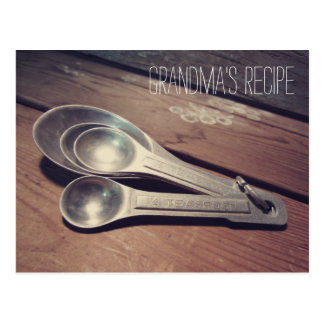 Vintage Aluminum Measuring Spoons Recipe Card