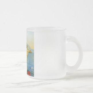 Vintage Amalfi Campania Italy Travel Poster Frosted Glass Coffee Mug