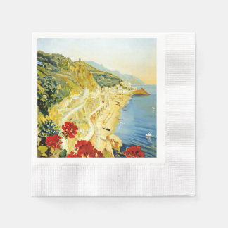 Vintage Amalfi Campania Italy Travel Poster Coined Cocktail Napkin