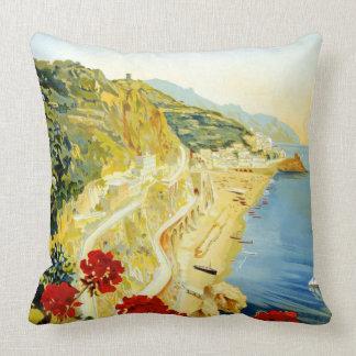 Vintage Amalfi Campania Italy Travel Poster Throw Pillow