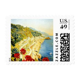 Vintage Amalfi Campania Italy Travel Poster Postage Stamp