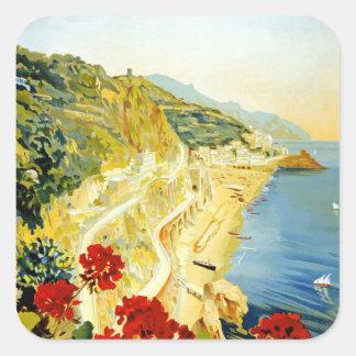 Vintage Amalfi Campania Italy Travel Poster Square Stickers