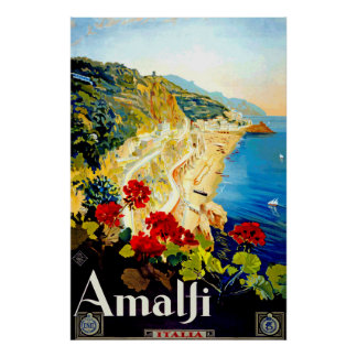 Vintage Amalfi Italy Europe Travel Poster