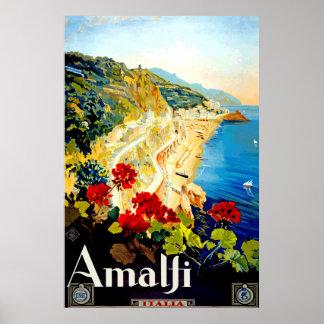 Vintage Amalfi Italy Europe Travel Poster