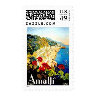 Vintage Amalfi Italy Europe Travel Stamp