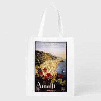 Vintage Amalfi Italy reusable bag Reusable Grocery Bags