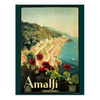 Vintage Amalfi Travel Advertisement Postcard