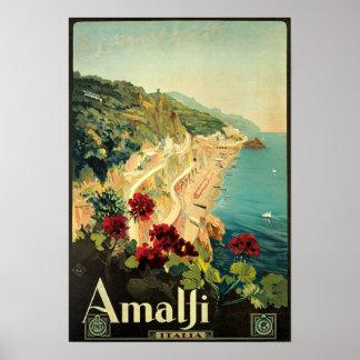 Vintage Amalfi Travel Advertisement Poster
