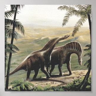 Vintage Amargasaurus Dinosaurs with Trees Print