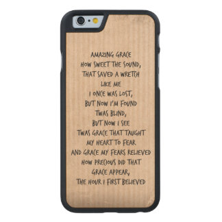 Vintage Amazing Grace Hymn Carved Maple iPhone 6 Case