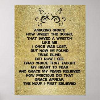 Vintage Amazing Grace Hymn Lyrics Poster