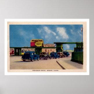 Vintage Ambassador Bridge Windsor Canada Poster