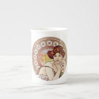 Vintage Amber Art Porcelain Mugs
