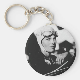 Vintage Amelia Earhart Photo Basic Round Button Keychain