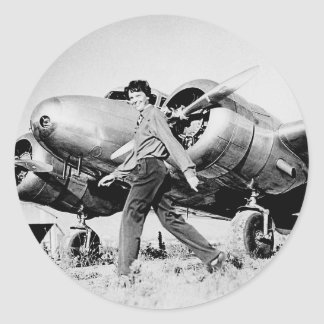 Vintage Amelia Earhart  Photo Classic Round Sticker
