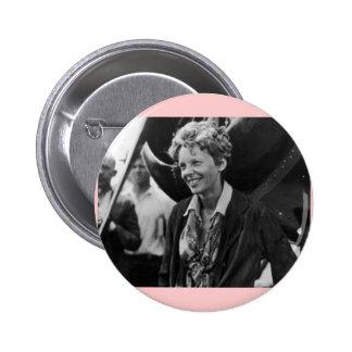 Vintage Amelia Earhart Photo Portrait Button