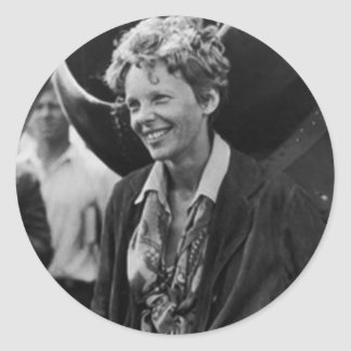 Vintage Amelia Earhart Photo Portrait Classic Round Sticker