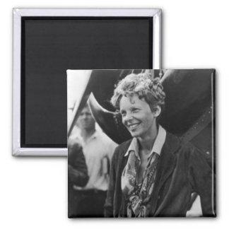 Vintage Amelia Earhart Photo Portrait 2 Inch Square Magnet