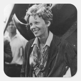 Vintage Amelia Earhart Photo Portrait Square Sticker