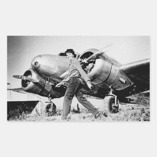 Vintage Amelia Earhart  Photo Rectangular Sticker
