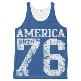 Vintage América 1776 Camiseta De Tirantes Con Estampado Integral