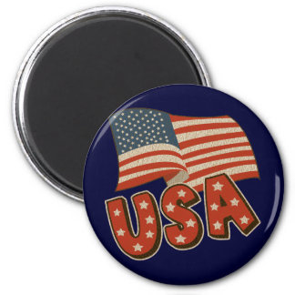 Vintage America Flag 2 Inch Round Magnet