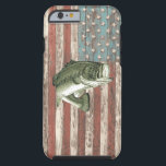 "Vintage America Flag Bass Fishing Case<br><div class=""desc"">Awesome distressed America Flag with a large mouth bass.  For all you fishermen.</div>"